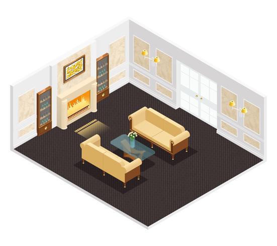 Interior de lujo isométrico vector