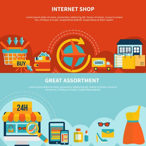 Internet Shopping Colorful Banners vector