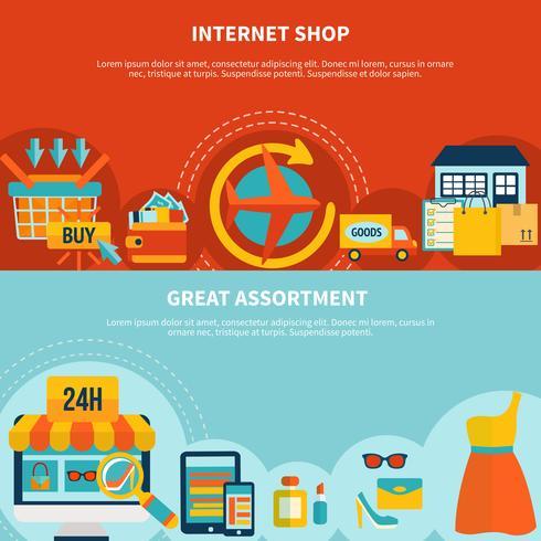 Internet Shopping Färgglada Banderoller vektor