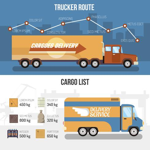 Delivery Trucks Banners vector
