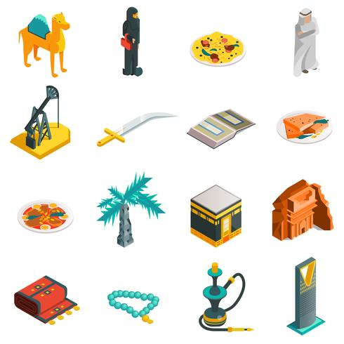 Saudiarabien Isometric Touristic Icons Set