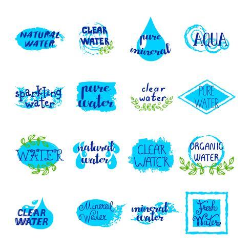 Vatten Retro Etiketter Set