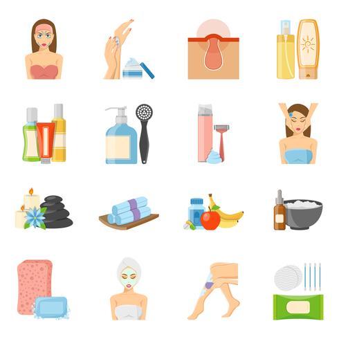 Soins de la peau et soins du corps icônes plats