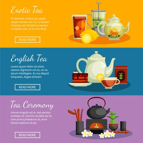 Conjunto de Banners de té vector