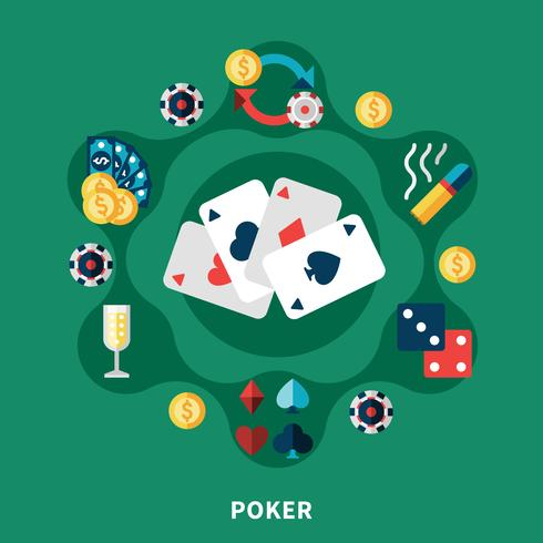 casino poker iconos ronda composición vector