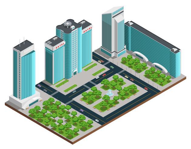 modern stad isometrisk komposition