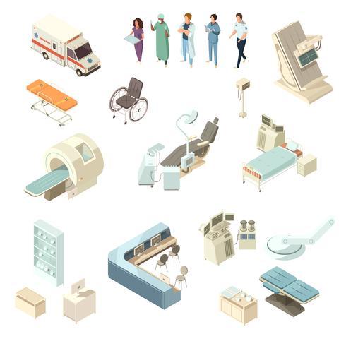 Isometrische Krankenhausikonen eingestellt vektor
