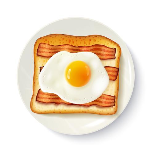 Sándwich de desayuno Vista superior Imagen realista vector