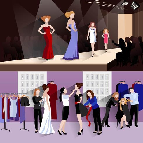 Insieme della bandiera del modello di moda