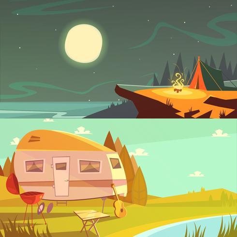 Senderismo y camping Banners conjunto vector