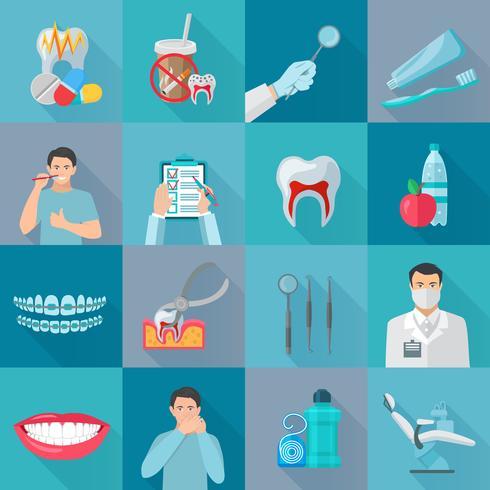 platt färgskugg dental ikoner vektor