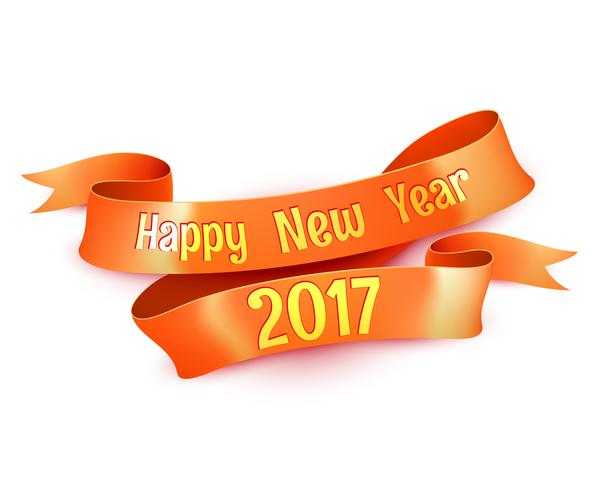 New Year Greetings Decoration Ribbon Element