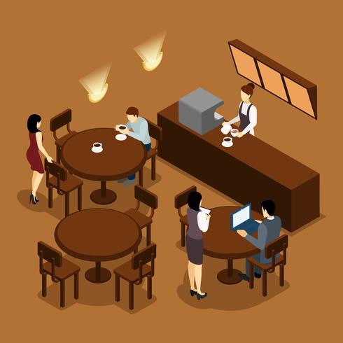 Camarera Barista People Isometric Brown Poster vector