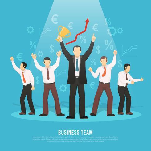 Business Team Success Flat Poster