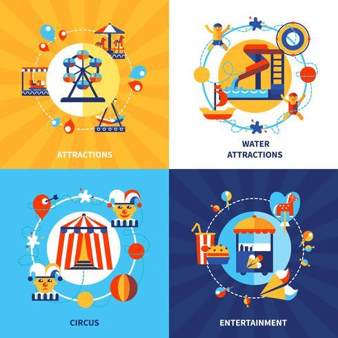 Parque de atracciones 4 iconos planos cuadrados