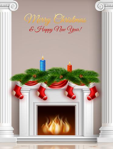 Jul och nytt år hälsningaffisch vektor