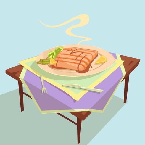Ilustración de dibujos animados de plato de pescado vector
