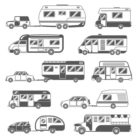 Set di icone bianche nero di camper vettore