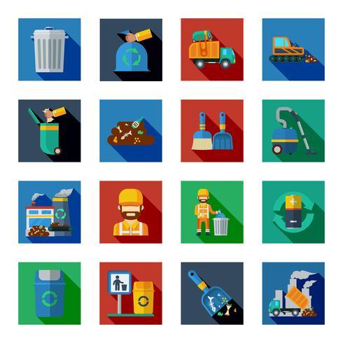 Verwijdering van afval Kleurrijke vierkante pictogrammen