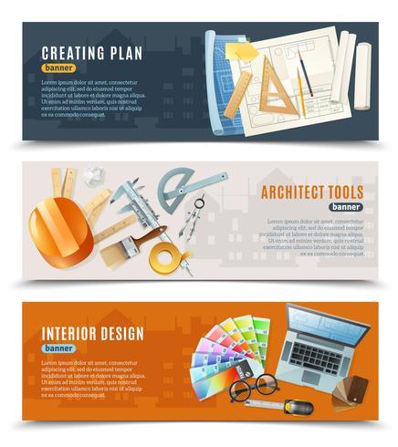 Costruzione architetto strumenti banner vettore