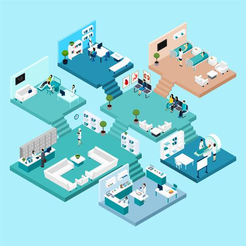 Hospital Isometric Icons vector