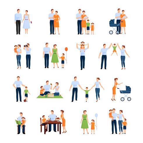 Set di icone di famiglia vettore