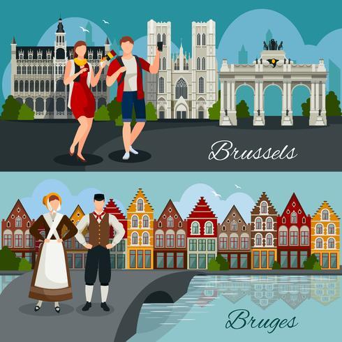 Composizioni in stile piatto in città belghe vettore