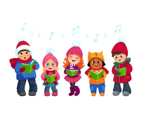 Caroling kids set vector
