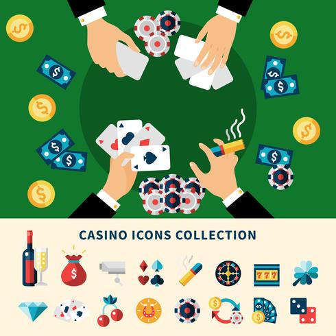 Casino Icons Collection Flat Composition vector