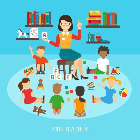 Poster per insegnante per bambini vettore