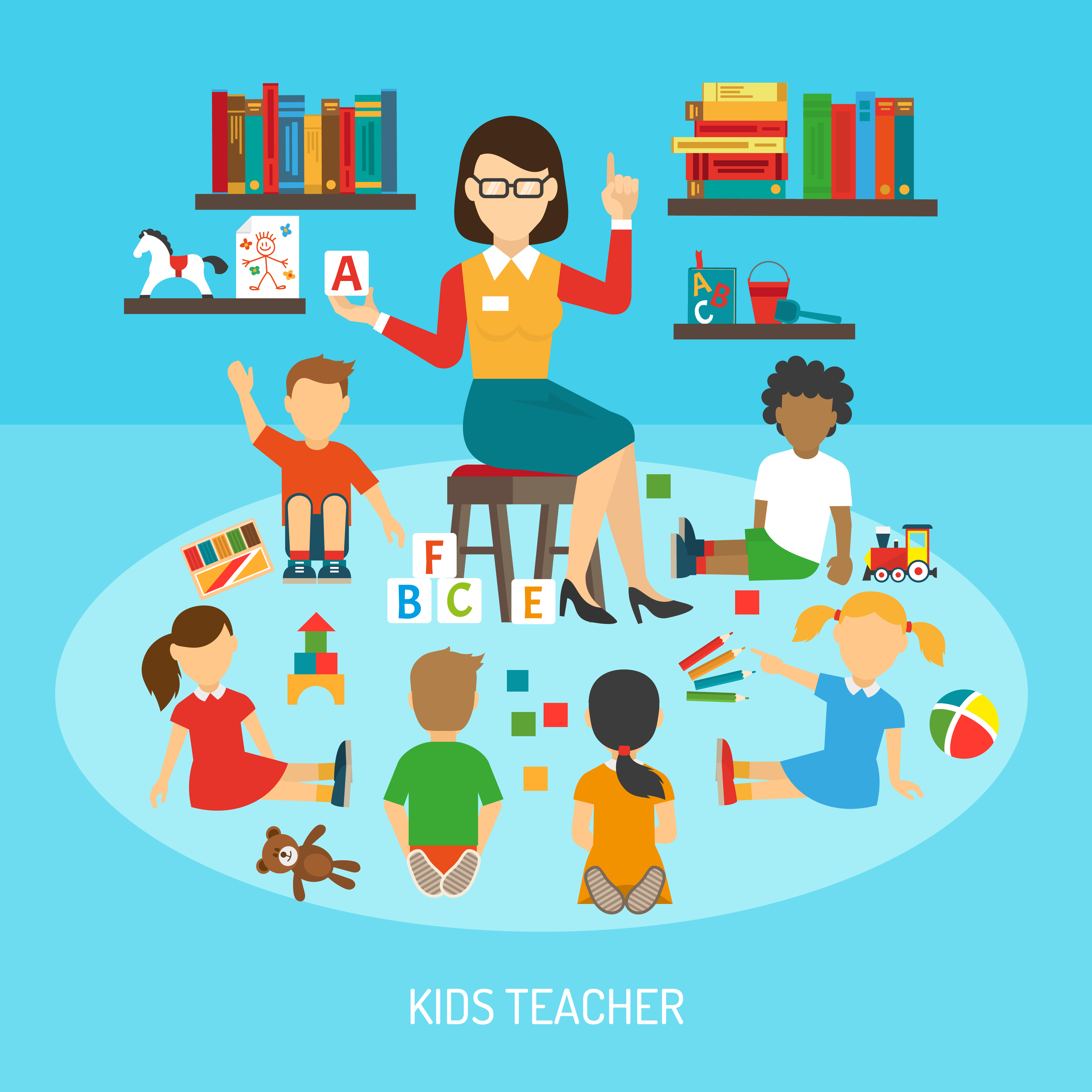 Kids teacher poster download free vector art stock graphics images - Children s day images download ...
