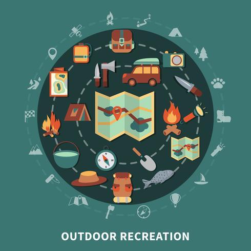 Camping composição plana