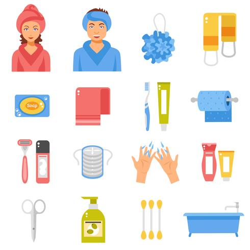 Hygiene Accessories Flat Icons Set vector