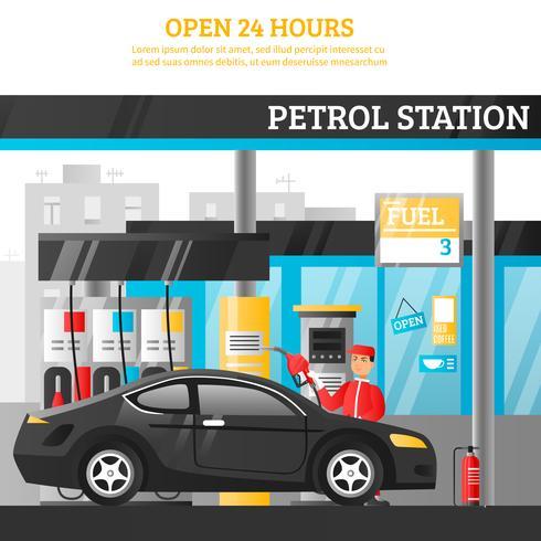 Ilustración de la estación de gasolina vector