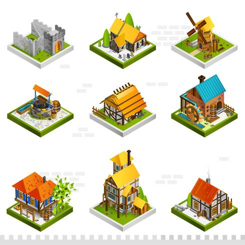 Medieval Buildings Isometric Collection vector
