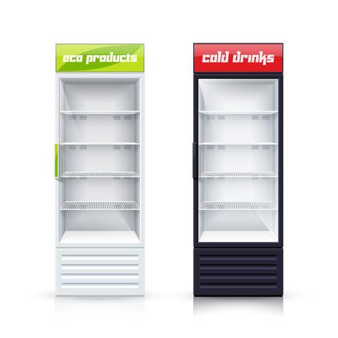 Dos frigoríficos vacíos Ilustración realista vector