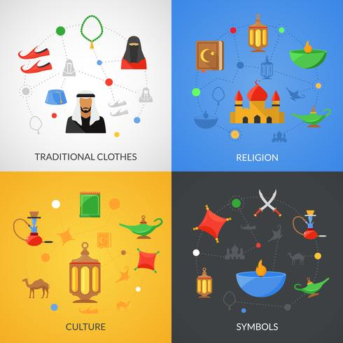 Arabic culture set vector