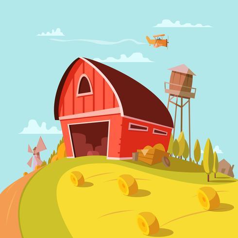 Farm Building Cartoon Bakgrund vektor