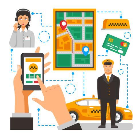 Ilustração conceitual de serviço de táxi