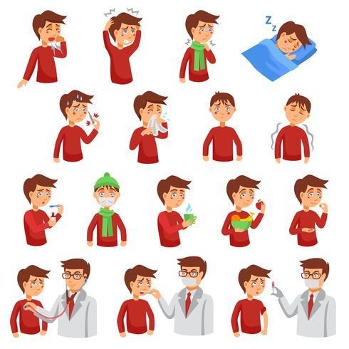 Conjunto de iconos de la gripe vector