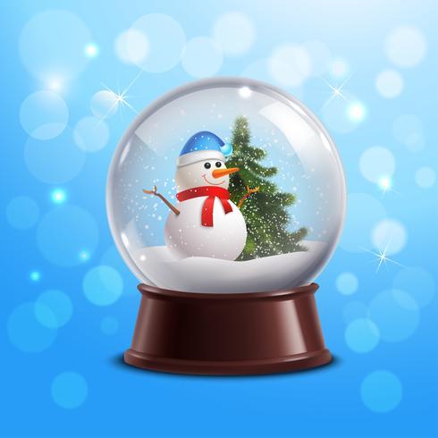 Globo di neve con pupazzo di neve vettore