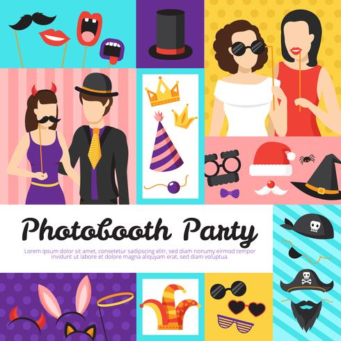 Photo Booth Party Design Concept vettore