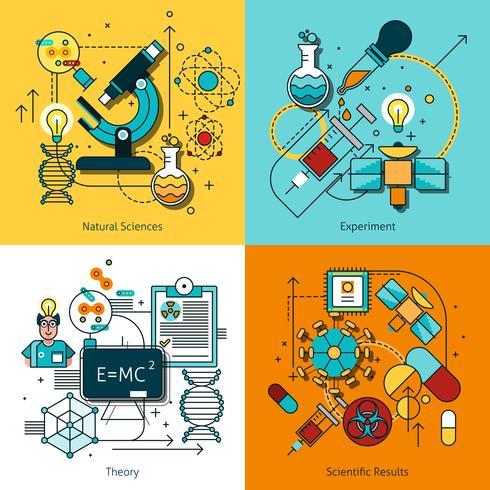 Vetenskap Koncept Linje Ikoner Set