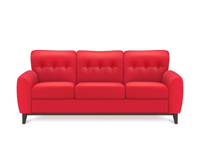 Red Leather Sofa Realistic Illustration vector