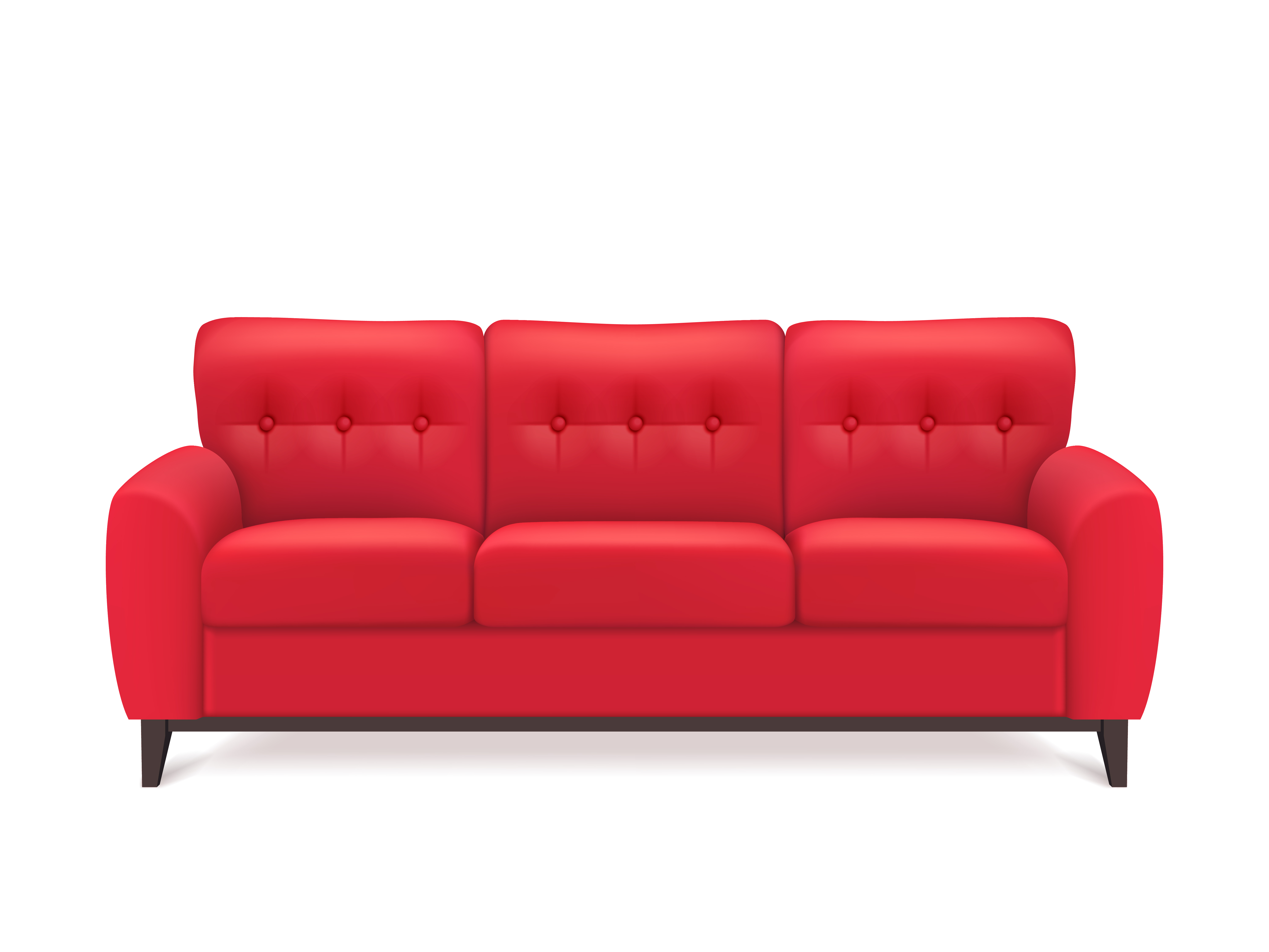 Red Leather Sofa Realistic Illustration Download Free