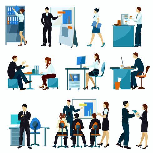Conjunto plana de trabajadores de oficina vector