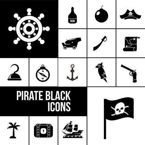 Pirate icons black set