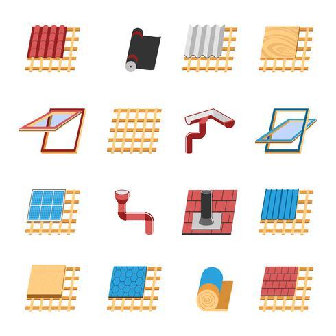 Conjunto de ícones plana de elementos de construção do telhado