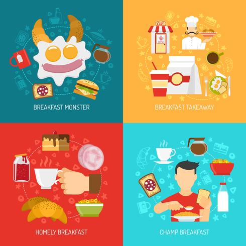 Breakfast Concept Icons Set  vector