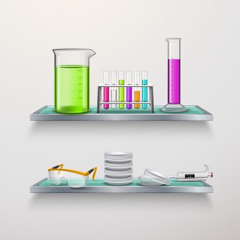 Composition de matériel de laboratoire sur les étagères